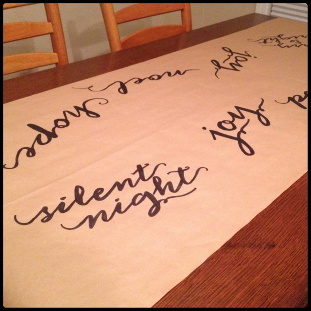 Dotted Kraft Table Runner Words