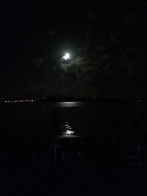 """Watching the moon from """"our bench"""" in Crikvenica"""