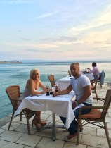 Romantic dinner at Il Golfo. Our table on the pier.