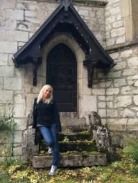 Posing by the beautiful church