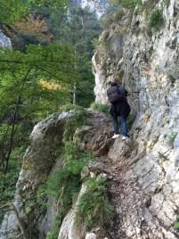 Treacherous stretch through against the mountain