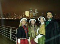 Posing with the Manhattan skyline behind us after performing at the Newport Tree Lighting