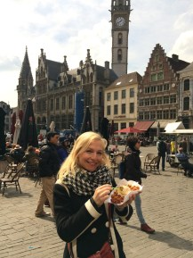 Eating a real Belgian waffle in Belgium!
