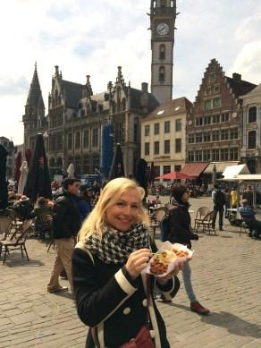 Eating a real Belgian waffle in Belgium!