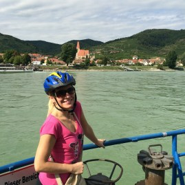 Taking the ferry across to the town of Weissenkirchen.