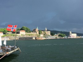 View of Akershus from across the marina