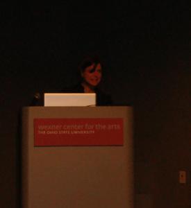 Jen Sorensen presenting at Ohio State Festival of Cartoon Art
