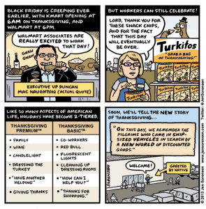Cartoon about making workers work on Thanksgiving