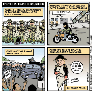 Cartoon about militarization of everything