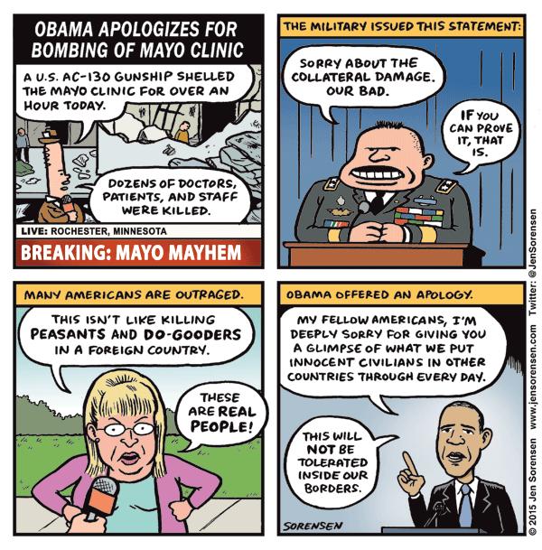 Obama apologizes for bombing of Mayo Clinic