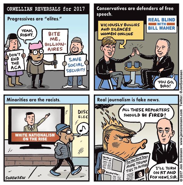 Orwellian reversals for 2017