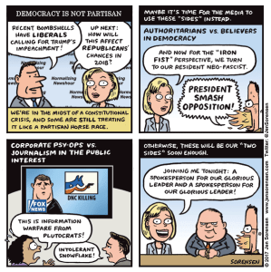 cartoon about both-sidesism and threat to American democracy