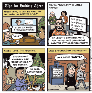 holiday cartoon about depressing news