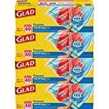 Glad Zipper Food Storage Freezer Bags - Gallon - 40 Count - 4 Pack  byGlad