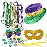 JOYIN Mardi Gras Accessory Set Party Favors with Beads Necklaces, Sequin Fedora Hat, Masquerade Mardi Gras Mask, Sequin Bow Tie. 24 Temporary Tattoos, 3 Pendants  byJOYIN