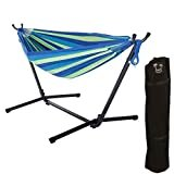 ONCLOUD Double Hammock with 9 FT Steel Stand Space Saving, Hammock Stands Heavy Duty Includes Portable Carrying Case for Outdoor or Indoor (Yellow Blue)  by ONCLOUD