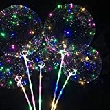 10 Pack LED light up Bobo Balloons DIY kit,3 meter fairy light 20 inch Transparent Bobo Balloon with Multicolored Lights for Party Wedding Decoration  by Seacity