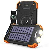 Solar Power Bank, Qi Portable Charger 10,000mAh External Battery Pack Type C Input Port Dual Flashlight, Compass (IPX4 Splashproof, Dustproof, Shockproof, Solar Panel Charging, DC5V/2.1A Input)  by BLAVOR