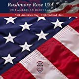US Flag 5x8 ft: 100% Made in USA. Premium Large American Flag 5x8 ft. Embroidered Stars and Stitched Stripes US Banner - Display with Pride  byRushmore Rose USA