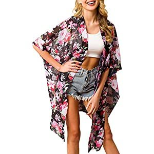 Traleubie Women's Beach Cover Up Floral Print Chiffon Swimwe