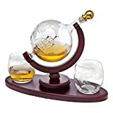Whiskey Decanter Globe Set with 2 Etched Globe Whisky Glasses - for Liquor, Scotch, Bourbon, Vodka - 850ml  by Godinger