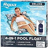 Aqua Deluxe Resort Quality Monterey Hammock, 4-in-1 Multi-Purpose Inflatable Pool Float (Saddle, Lounge Chair, Hammock, Drifter), Washable Premium Fabric, Stow-n-Go Tote Bag, Antigua Blue  by Aqua