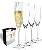 JBHO Hand Blown Crystal Champagne Flutes - Lead-Free Premium Crystal Clear Glass - Set of 4-7.13 Ounce(211 ml) - 9.84'' Tall - Perfect Size Champagne Glasses - Gift-Box for any Occasion  Brand: JBHO