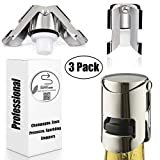 Champagne Sealer Stopper, BGMAX 3 Pack Stainless Steel Sparkling Wine Bottle Plug Sealer Set with a Longer Sealing Plug, Gifts Accessories for Champagne  Brand: BGMAXimum