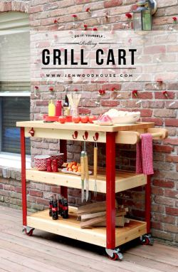 Tutorial on how to build a DIY rolling outdoor grill cart - free plans!