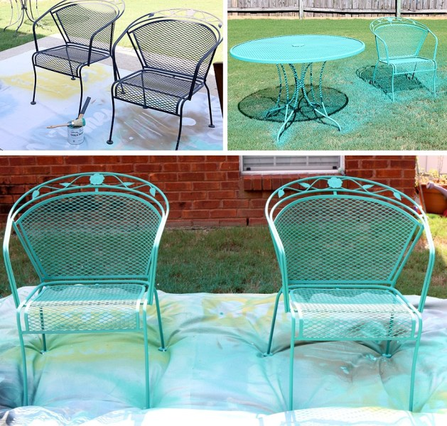 How To Paint Patio Furniture with Chalk Paint     How to paint a wrought iron patio set with Chalk Paint     by Annie Sloan