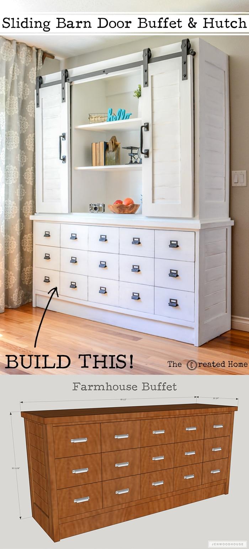 DIY Farmhouse Sliding Barn Door Buffet And Hutch