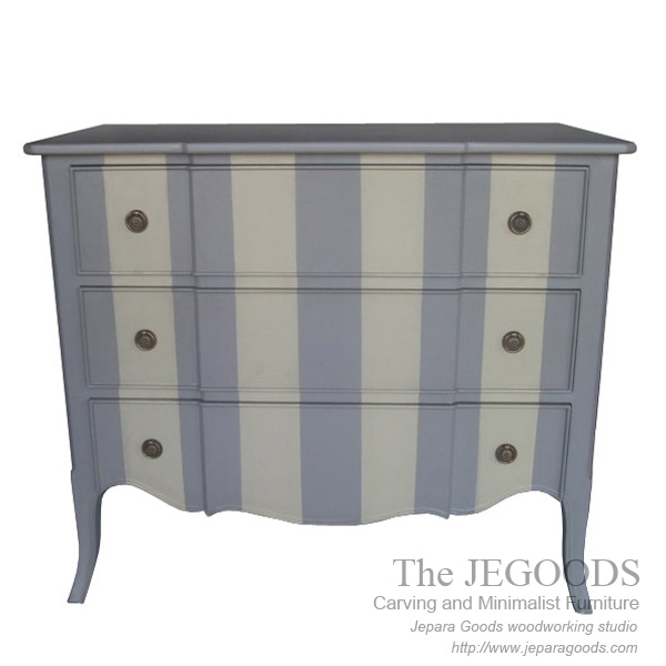 Chest of Drawer Striped Painted