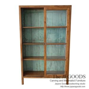 187 Retro Java Cabinet Display 2 Sliding Doors With Shabby