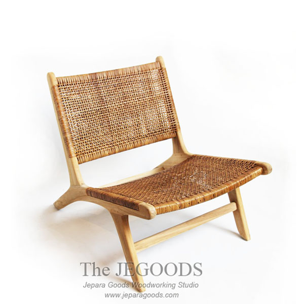 Nordic Lazy Lounge Rattan Teak Chair