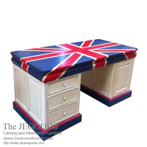 union jack twin desk vintage, vintage partner desk, painted partner desk, sell vintage union jack partner desk, twin desk vintage, twin desk union jack painted,vintage writing desk painted, meja kerja bendera inggris, union jack flag desk,Jepara antique mahogany union jack flag mebel bendera inggris shabby chic furniture, painted furniture twin desk