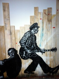 Jef Aérosol. Chuck Berry & Woody Allen. Stencil on wood. 2012. Private collection, Galérie Magda Danysz, Paris.