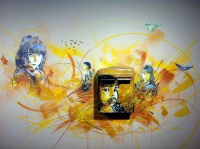 C215. Nostos. Stencil on mailbox. 2012. Created for exhibition, L'Adresse Musée de la Poste, Paris.