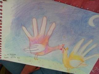 Two hand turkeys in love!