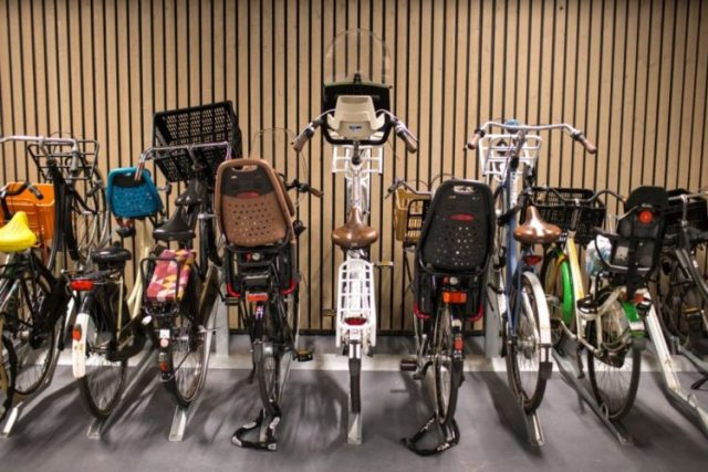 A special section in a new underground bike parking garage for bigger bikes, which usually have children's seats attached, in Utrecht, The Netherlands, Aug. 22, 2017. Utrecht is the Netherlands' fastest growing city and also one of the world's most bike-friendly places in one of the world's most bike-friendly countries. (Ilvy Njiokiktjien/The New York Times)