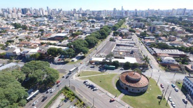Teatro Paiol em imagem captada por drone. Foto: Agência Curitiba / Divulgação