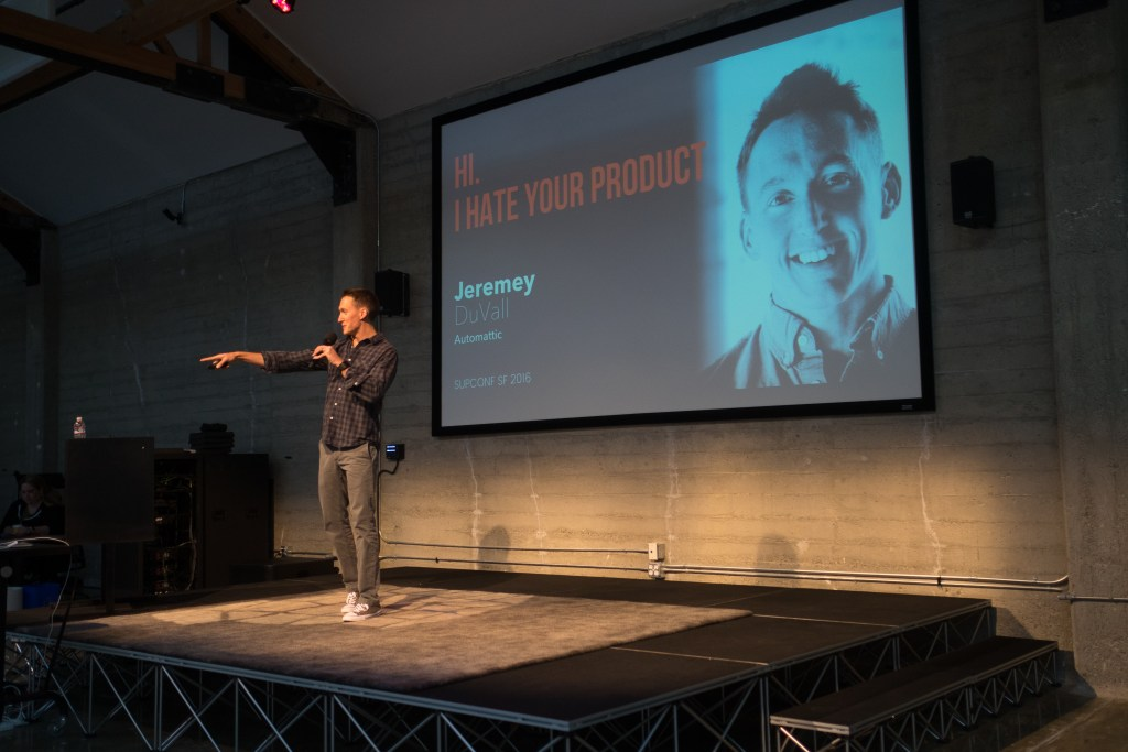 Jeremey DuVall speaking at SupConf about customer service