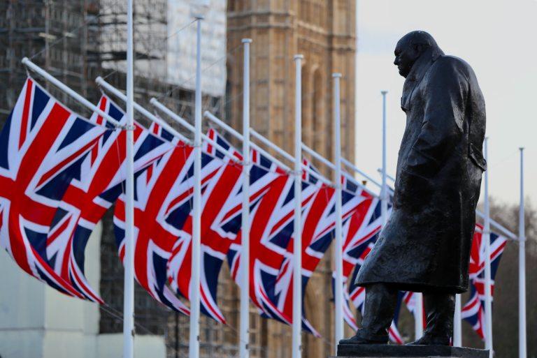 The Winston Churchill statue in Parliament Square, London.