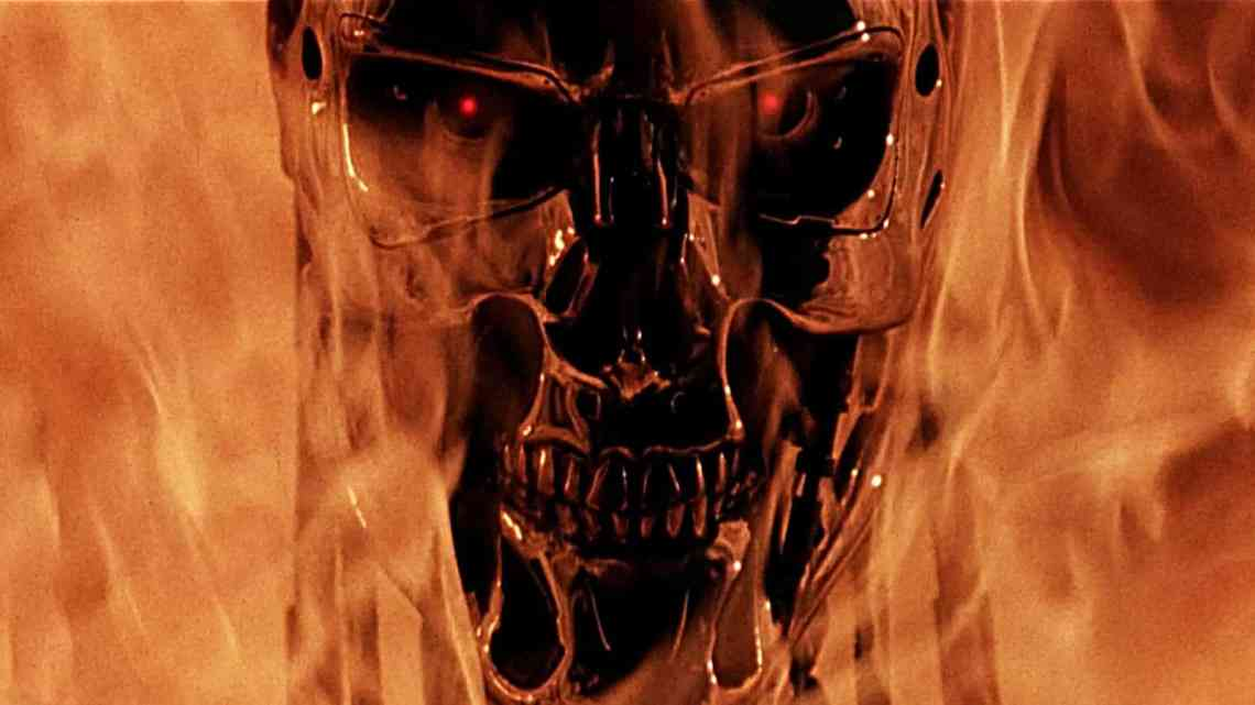 Image of a metal skull in flames