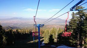 On the other side, ski tracks