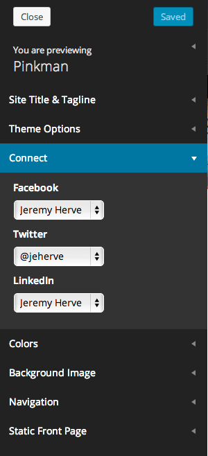 Jetpack's social links in the customizer