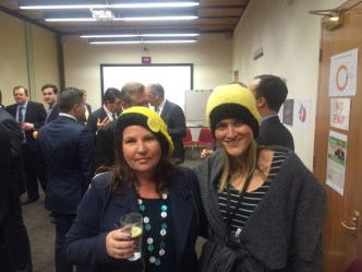 Greens MP Tamara Smith and her adviser Amy Phillips at the Carnival of Coal as Knitting Nannas
