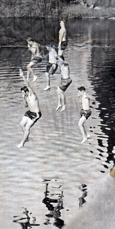 Students take a daring plunge into the river – original newspaper print from Jeremy Larochelle's photo portfolio.