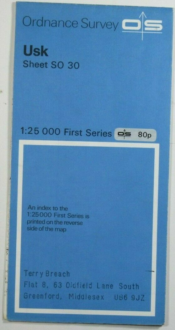 1974 Old Vintage OS Ordnance Survey 1:25000 First Series Map Sheet SO 30 Usk OS 1:25 000 First Series Maps 2