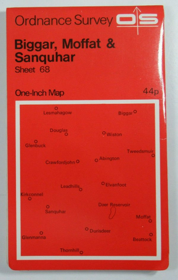 1970 OS Ordnance Survey One-inch Seventh Series Map 68 Biggar Moffat & Sanquhar OS One-Inch Seventh Series maps 2