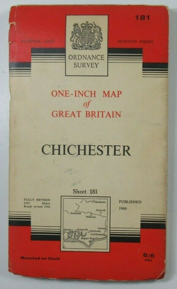 1965 Old Vintage OS Ordnance Survey One-Inch Seventh Series CLOTH Map 181 Chichester OS One-Inch Seventh Series maps 2